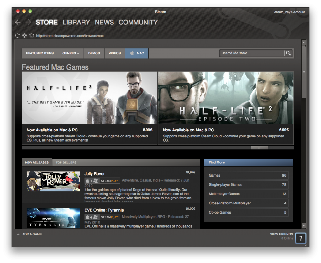 Steam for Mac screenshot