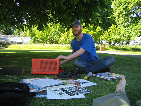Playing vinyl in the botanical gardens